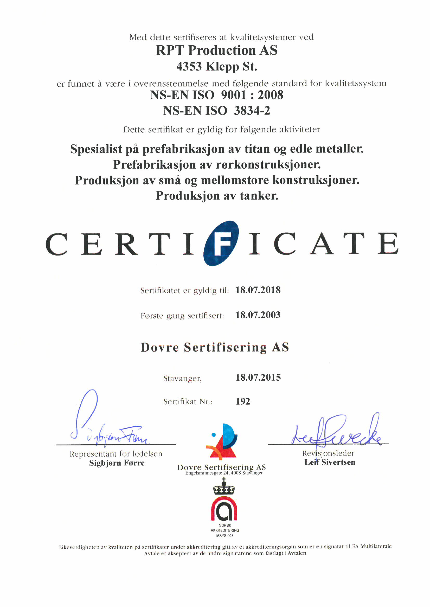 ISO 9001 Norsk